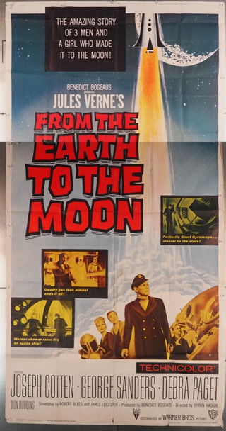 FROM THE EARTH TO THE MOON (1958) 13314 Warner Brothers Original Three Sheet Poster (41x81) Folded, fully assembled.  Fine Condition  Theater-used