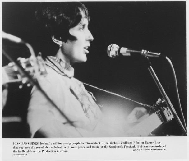 WOODSTOCK (1970) 27053  JOAN BAEZ Warner Brothers Original Gelatin Silver Photograph (8x10).  Very Fine Condition