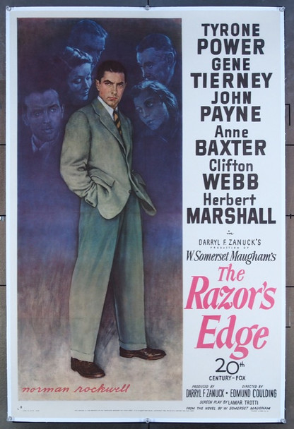 RAZOR'S EDGE,THE (1946) 26296 20th Century Fox Original Style B One-Sheet Poster (27x41) Linen Backed  Very Fine  Art by NORMAN ROCKWELL