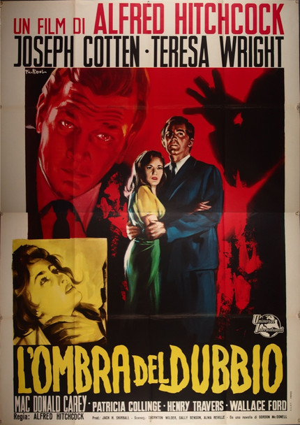 SHADOW OF A DOUBT (1943) 26801 Universal Pictures Original Italian Four Foglio Poster (79x55) Re-release of 1962  Folded Very Fine Condition  Art by Franco Picchioni