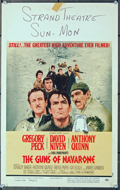 GUNS OF NAVARONE, THE (1961) 8441 Columbia Pictures Original Window Card Poster (14x22) Re-release of 1966.  Very Fine Condition.