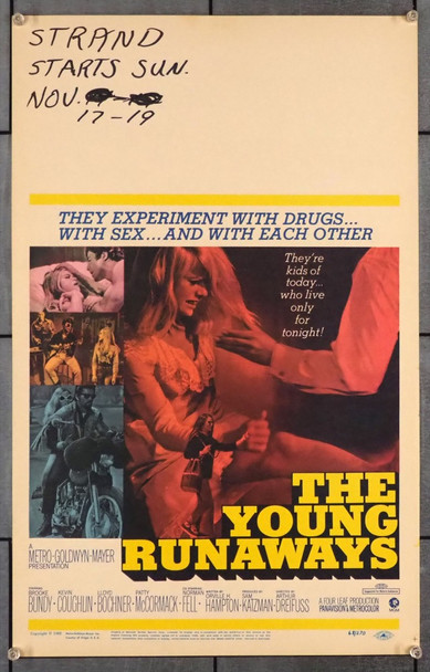 YOUNG RUNAWAYS, THE (1968) 9114 MGM Original Window Card Poster (14x22) Very Good Condition
