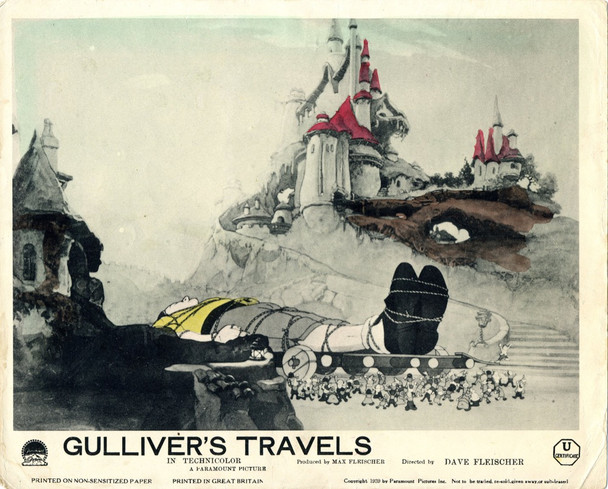 GULLIVER'S TRAVELS (1939) 9394 Original British Front-Of-House Lithographic Still (8x10). Very Fine Condition. Hand Tinted.