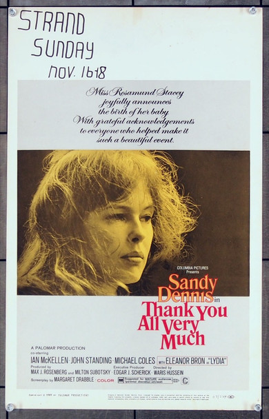 TOUCH OF LOVE, A (1969) 27095 Columbia Pictures Original U.S. Window Card  (14x22) Very Good Plus Condition