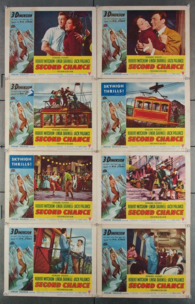 SECOND CHANCE (1953) 2596 RKO Pictures Original Lobby Card Set  Eight 11x14 Cards  For 3D Release  Fine Plus Condition