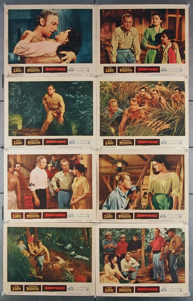 SANTIAGO (1956) 2593 Warner Brothers Original Lobby Card Set  Eight 11x14 Cards   Good Plus to Very Good Condition