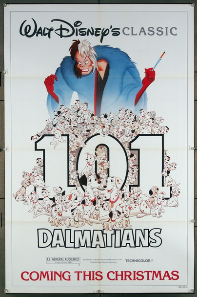 ONE HUNDRED AND ONE DALMATIANS (1961) 27098 Original Walt Disney Productions 1985 Re-Release One Sheet Poster (27x41).  Folded.  Very Fine.