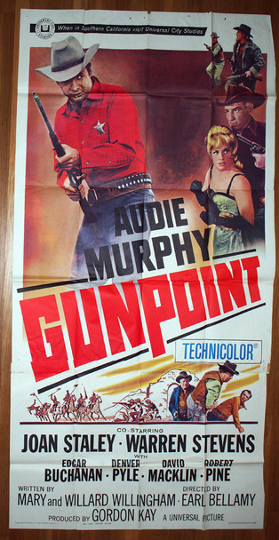 GUNPOINT (1966) 12966 Universal Pictures Original Three Sheet Poster (41x81) Folded  Average Used Condition Very Good Plus