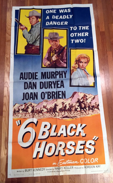 SIX BLACK HORSES (1962) 16051 Universal Pictures Original Three Sheet Poster (41x81) Folded  Very Good Plus Condition  Average Used