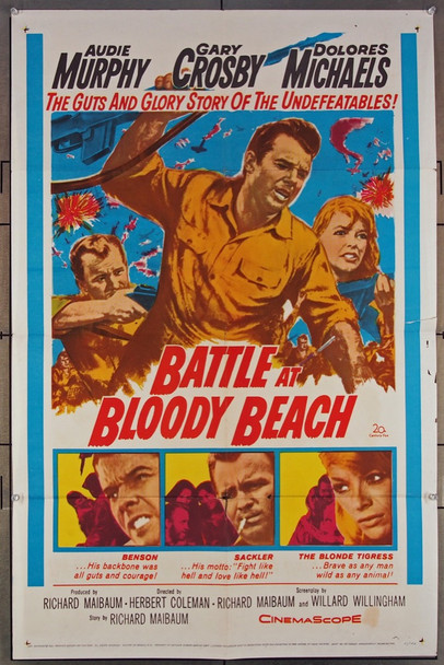 BATTLE AT BLOODY BEACH (1961) 11305 20th Century Fox Original One-Sheet Poster (27x41) Folded  Good Condition  Average Used