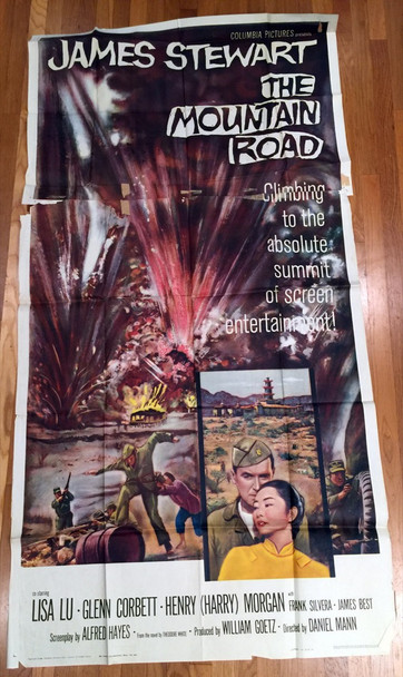 MOUNTAIN ROAD, THE (1960) 9705 Columbia Pictures Original Three Sheet Poster (41x81) Folded  Average Used Condition