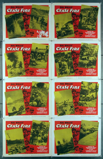 CEASE FIRE! (1953) 2602   3D Paramount Pictures Original Lobby Card Set  Eight 11x14 Cards  Very Good Condition  Theater-Used  Average Used Condition  Marked for 3D
