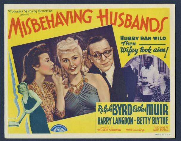 MISBEHAVING HUSBANDS (1941) 2637 Producer's Releasing Corporation Original Scene Lobby Card (11x14)  Slightly trimmed  Fine Condition   RARE LOBBY CARD OF HARRY LANGDON