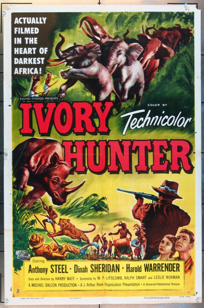 IVORY HUNTER (1952) 26090 Universal Pictures Original One-Sheet Poster  (27x41)  Folded  Fine Plus Condition