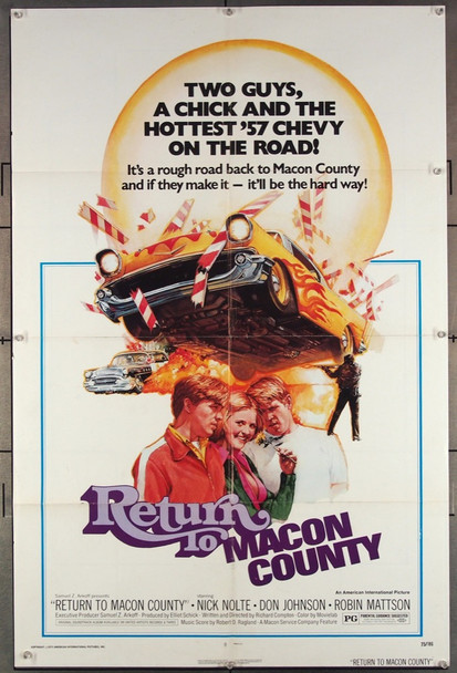 RETURN TO MACON COUNTY (1975) 12135 American International Original One-Sheet Poster  (27x41) Folded  Fine Plus Condition  Art by Drew Struzan