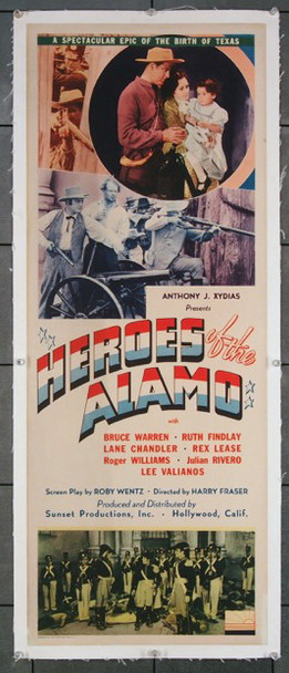 HEROES OF THE ALAMO (1937) 27060 Sunset Productions Original U.S. Insert Poster (14x36) Linen Backed  Very Fine Condition