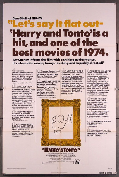 HARRY AND TONTO (1974) 27199 Original Fox 1974 Release One Sheet Poster (27x41) Directed by Paul Mazursky