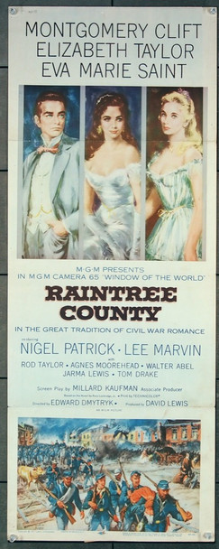 RAINTREE COUNTY (1957) 10061 MGM Original Insert Card Poster (14x36) Folded Fine Plus Condition