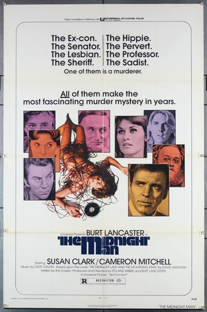 MIDNIGHT MAN, THE (1974) 27256 Universal PIctures Original One-Sheet Poster (27x41) Folded  Very Good Condition