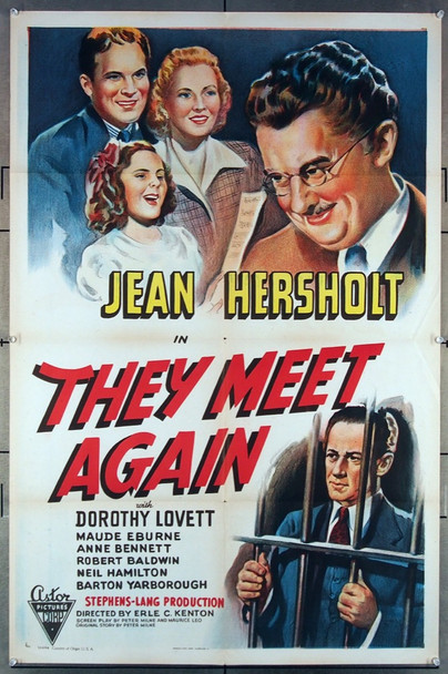 THEY MEET AGAIN (1941) 27431 Astor Pictures Re-release One-Sheet Poster  (27x41) Folded  Very Fine