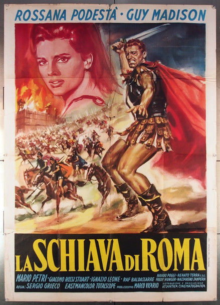 SCHIAVA DI ROMA, LA (1961) 27428 Atlantica Cinematographica Original Italian 39x55 Poster  Folded  Fine Plus Condition  Theater-Used