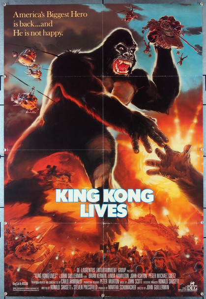 KING KONG LIVES (1986) 27226 An original 1986 DEG Release One Sheet Movie Poster  Directed by John Guillermin and stars Peter Elliott and Linda Hamilton.