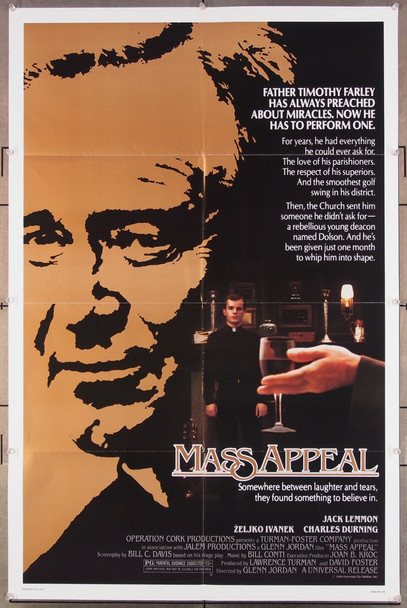 MASS APPEAL (1984) 27251 An original 1984 Universal One Sheet Poster (27x41) Directed by Glenn Jordan and starring Jack Lemmon