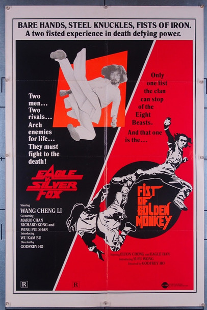 EAGLE VS. SILVER FOX (1980) 27390 Aimi Pictures Original One-Sheet Poster (27x41) Folded  Double-Feature with FIST OF THE GOLDEN MONKEY