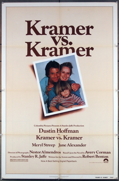 KRAMER VS. KRAMER (1979) 27228 An original Columbia Pictures 1979 Release One Sheet Poster (27x41) Directed by Robert Benton and starring Meryl Streep and Dustin Hoffman and winner of 5 Academy Awards.