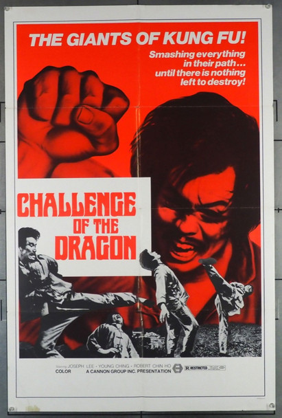 CHALLENGE OF THE DRAGON (1974) 27398 Cannon Group Original U.S. One-Sheet Poster (27x41) Folded  Very Good Plus to Fine Condition