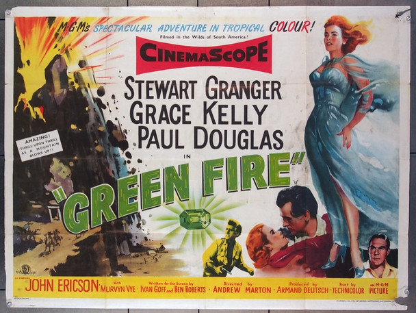 GREEN FIRE (1954) 4778 MGM Original British Quad Poster  30x40  Folded  Very Good Condition