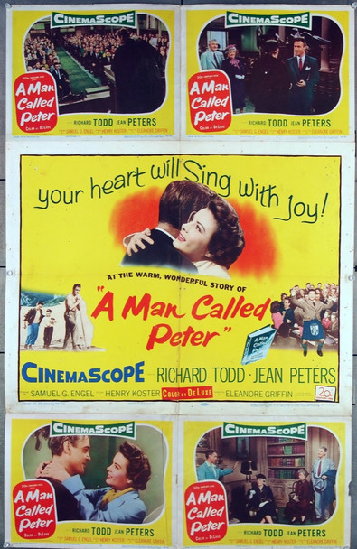 MAN CALLED PETER, A (1955) 27473 20th Century Fox Original Half sheet Poster with four attached 11x14 lobby cards  Used Condition