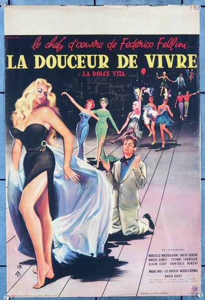 LA DOLCE VITA (1960) 18434 Original French 15x22 Poster  Folded Once  Very Good Plus Condition  Art by Yves Thos