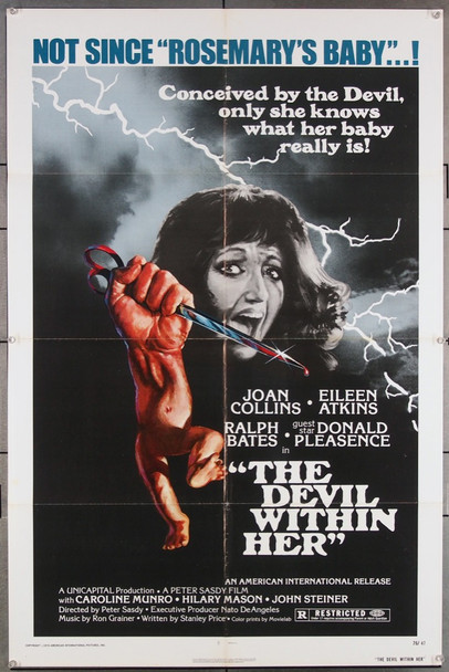 DEVIL WITHIN HER, THE (1976) 4274 American International Original One-Sheet Poster (27x41) Folded  Fine Plus Condition