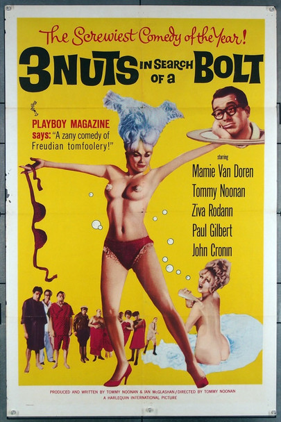 3 NUTS IN SEARCH OF A BOLT (1964) 12078 Harlequin Pictures Original One-Sheet Poster (27x41) Folded  Very Good Condition  Theater Used