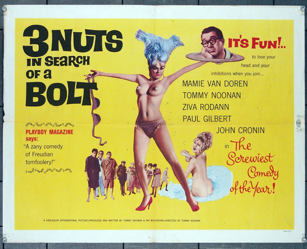 3 NUTS IN SEARCH OF A BOLT (1964) 12077 Harlequin PIctures Original Half Sheet Poster (22x28) Folded  Fine Plus Condition