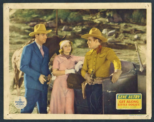 GIT ALONG LITTLE DOGIES (1937) 2621 Republic Pictures Original Scene Lobby Card (11x14) Good Condition  Average Used Condition