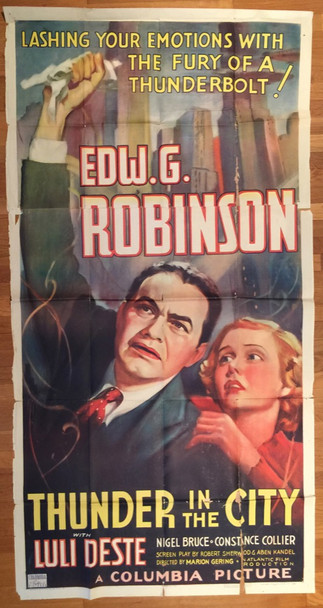 THUNDER IN THE CITY (1937) 10169 Columbia Pictures Original Three Sheet Poster (41x81)  Folded  Fair to Good Condition
