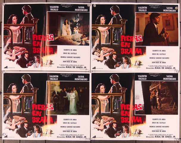 FIERAS EN BRAMA (1983) 27529 Original Mexican Set of Eight Lobby Cards (11x14)  Folded Once  Condition  Very Good Plus