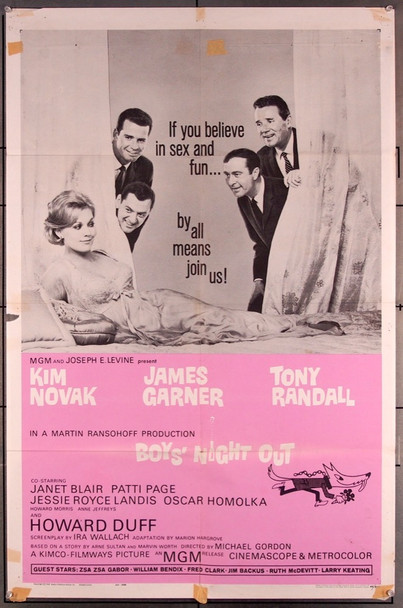 BOYS' NIGHT OUT (1962) 18007 MGM Original One-Sheet Poster (1962) Folded  Very Good Condition  Theater Used