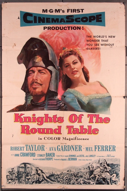 KNIGHTS OF THE ROUND TABLE (1953) 27545 MGM Original One-Sheet Poster (27x41) Folded  Very Good Condition