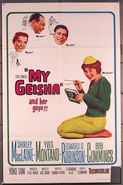 MY GEISHA (1962) 14116 Paramount Pictures Original One-Sheet Poster (27x41) Folded  Fair Condition