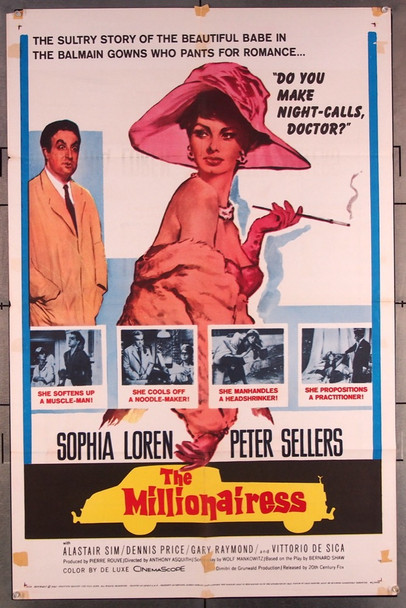 MILLIONAIRESS, THE (1960) 27547 20th Century Fox Original One-Sheet Poster (27x41) Folded  Very Good Condition  Average Used