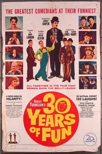 ROBERT YOUNGSON'S 30 YEARS OF FUN (1963) 27549 20th Century Fox Original One-Sheet Poster (27x41) Folded  Very Good Condition  Average Used
