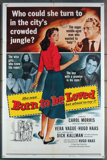 BORN TO BE LOVED (1959) 27619 Universal Pictures Original U.S. One-Sheet Poster (27x41) Folded  Fine Plus Condition
