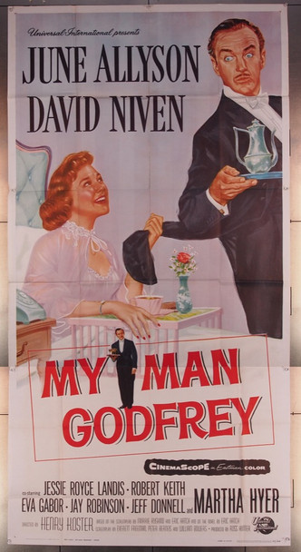 MY MAN GODFREY (1957) 10774 Universal Pictures Original Three-Sheet Poster (41x81) Folded  Very Fine Condition