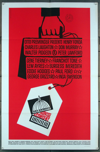ADVISE AND CONSENT (1962) 27615 Columbia Pictures Original One-Sheet Poster (27x41) Folded  Very Fine Condition