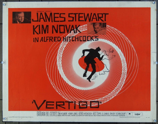 VERTIGO (1958) 25937 Paramount Original Half Sheet Poster  22x28  Never Folded  Very Fine Condition ROLLED!