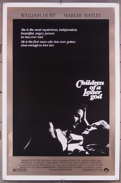 CHILDREN OF A LESSER GOD (1986) 253 Paramount Pictures Original U.S. One-Sheet Poster (27x41) Rolled Fine Plus Condition