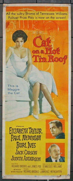CAT ON A HOT TIN ROOF (1958) 21739 MGM Original Insert Poster (14x36)  Folded  Good Condition Only